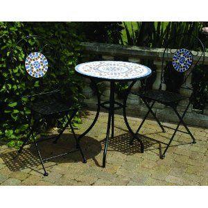 3 Piece Mosaic Bistro Garden Furniture Patio Set With Round Table