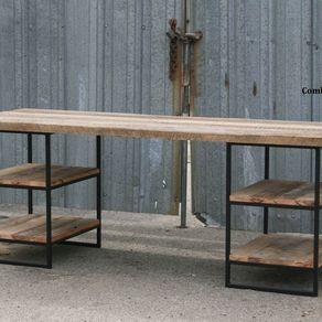 Reclaimed Wood (Oak) Desk With Shelves. Steel. Custom Dimensions/Configurations. by Lee Cowen