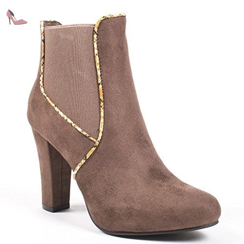 Ideal Shoes - Bottines chelsea à talons effet daim et liseré reptile  Laurane Taupe 41 -