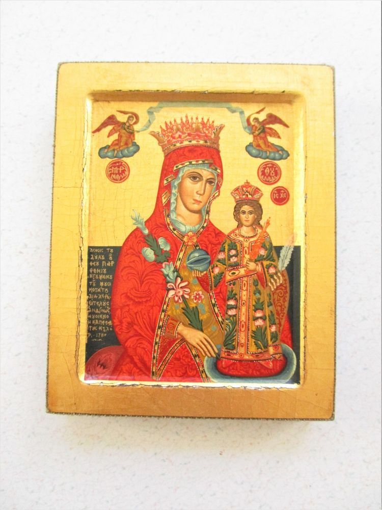 Vintage Small Repro Painting Virgin of Roses Byzantine Wood Wall ...