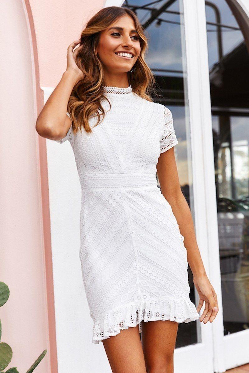 Click On The Photo To Shop This Beautiful White Dress New White Lace Back Short Sleeve Ruffle Elegant Summer Dresses White Short Dress Dress For Short Women [ 1201 x 800 Pixel ]