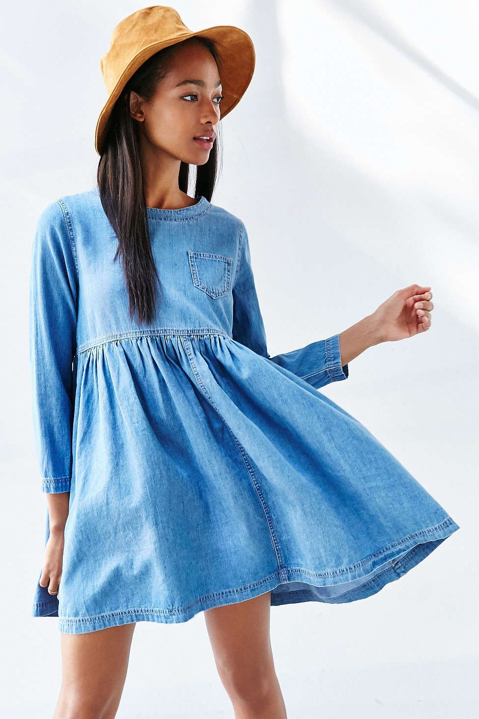a646075fd42 BDG Blue Jean Babydoll Dress - Urban Outfitters