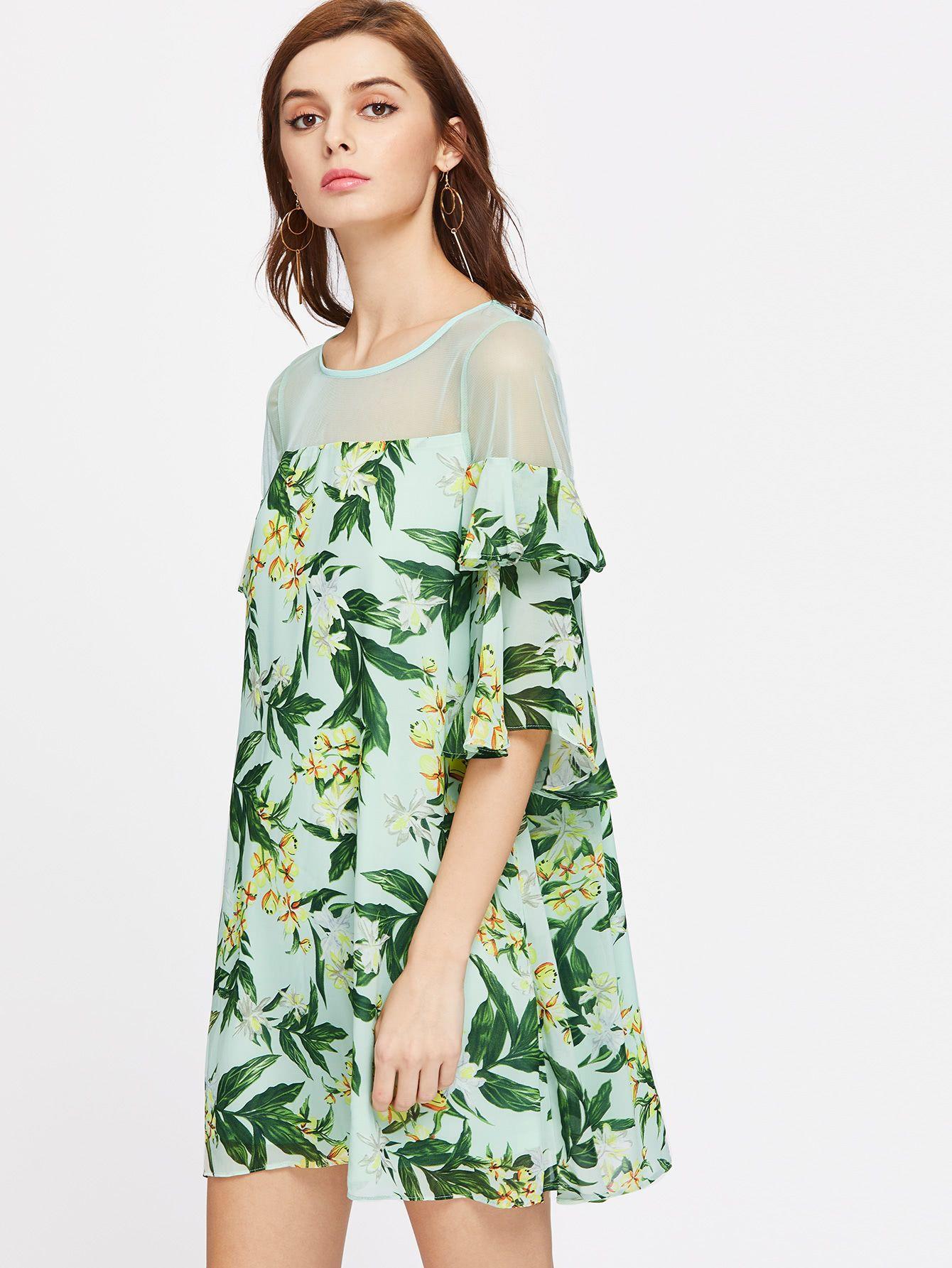 8a243d729e3e Palm Leaf Print Sheer Shoulder Ruffle Sleeve Dress