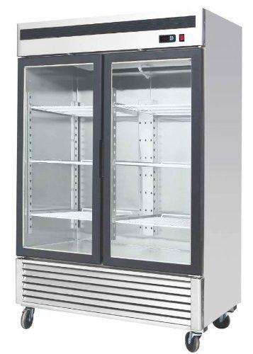 Stainless Steel 55 Inch Glass Two Door Merchandiser Upright Refrigerator Mcf 8707 Double Glass Doors Adjustable Shelving Upright Freezer