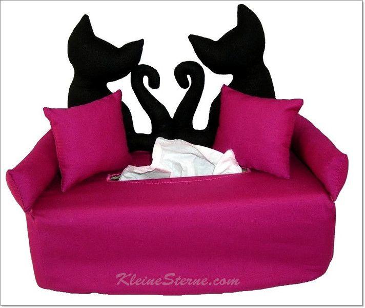 katzenpaar auf magenta taschentuchsofa handgemachte kosmetikboxbez ge handmade tissue box. Black Bedroom Furniture Sets. Home Design Ideas