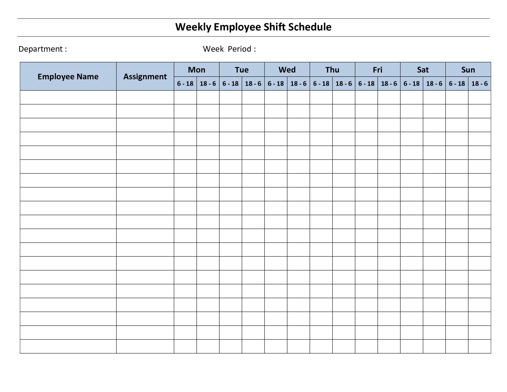 Printable Weekly Employee Schedule Template | jjunio | Pinterest ...