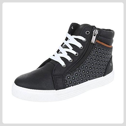Ital-Design High-Top Sneaker Damen-Schuhe High-Top Sneakers Freizeitschuhe Grau Schwarz, Gr 37, X-36-
