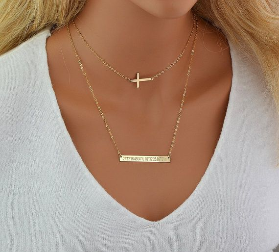 Horizontal Bar Layering Necklace Set Simply Gold Necklace Initial Disc Skinny Bar Necklace Layered Necklace Gold Delicate Jewelry