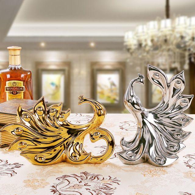 1 par de oro y de plata Europea del pavo real ornamento/mudarse a la ...
