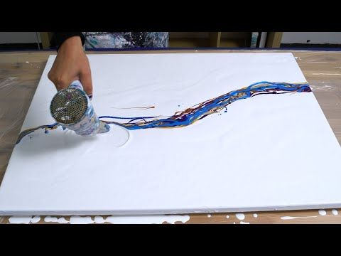 Acrylic pouring - My Biggest fluid painting 24x32