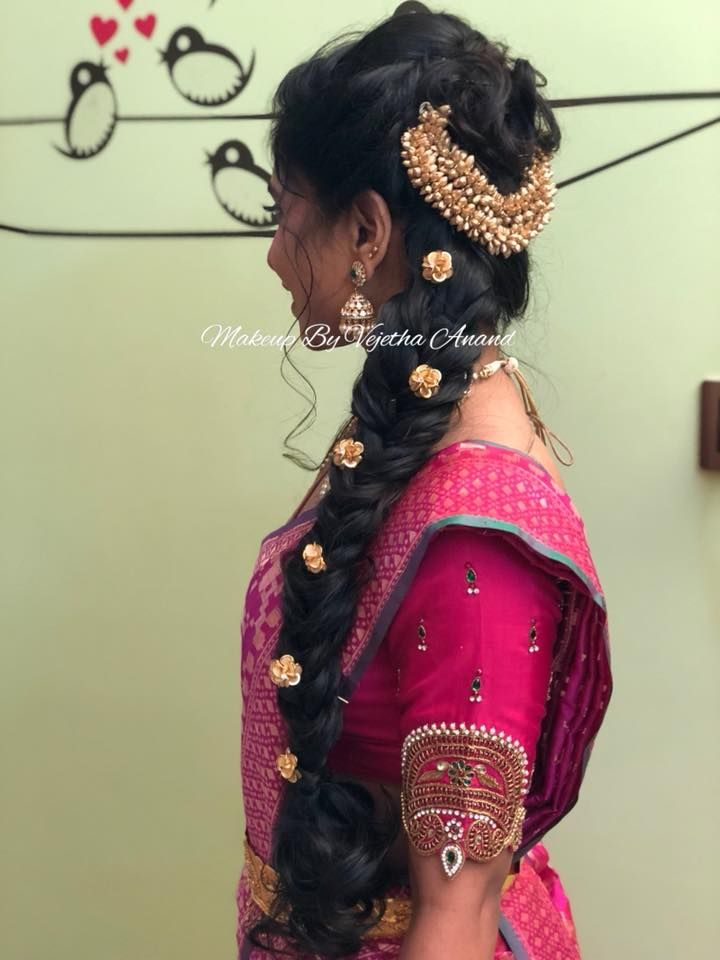 Pretty Bridal Hairstyle For Engagement Fishtail Braid Indian Bride Bridal Half Saree Hair Acces Hair Styles Indian Bride Hairstyle Indian Bridal Hairstyles