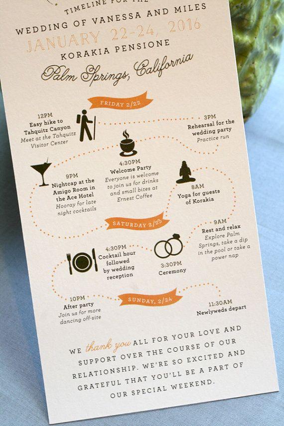 Custom Wedding Weekend Timeline Wedding Program By