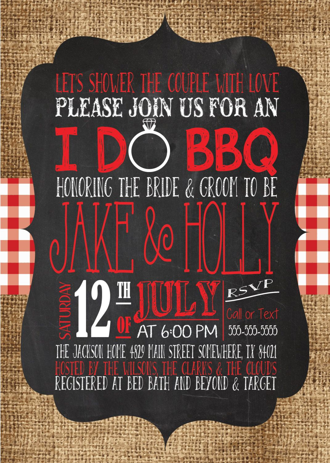 ANY Color I DO BBQ Burlap Red Gingham Wedding Shower Country ...