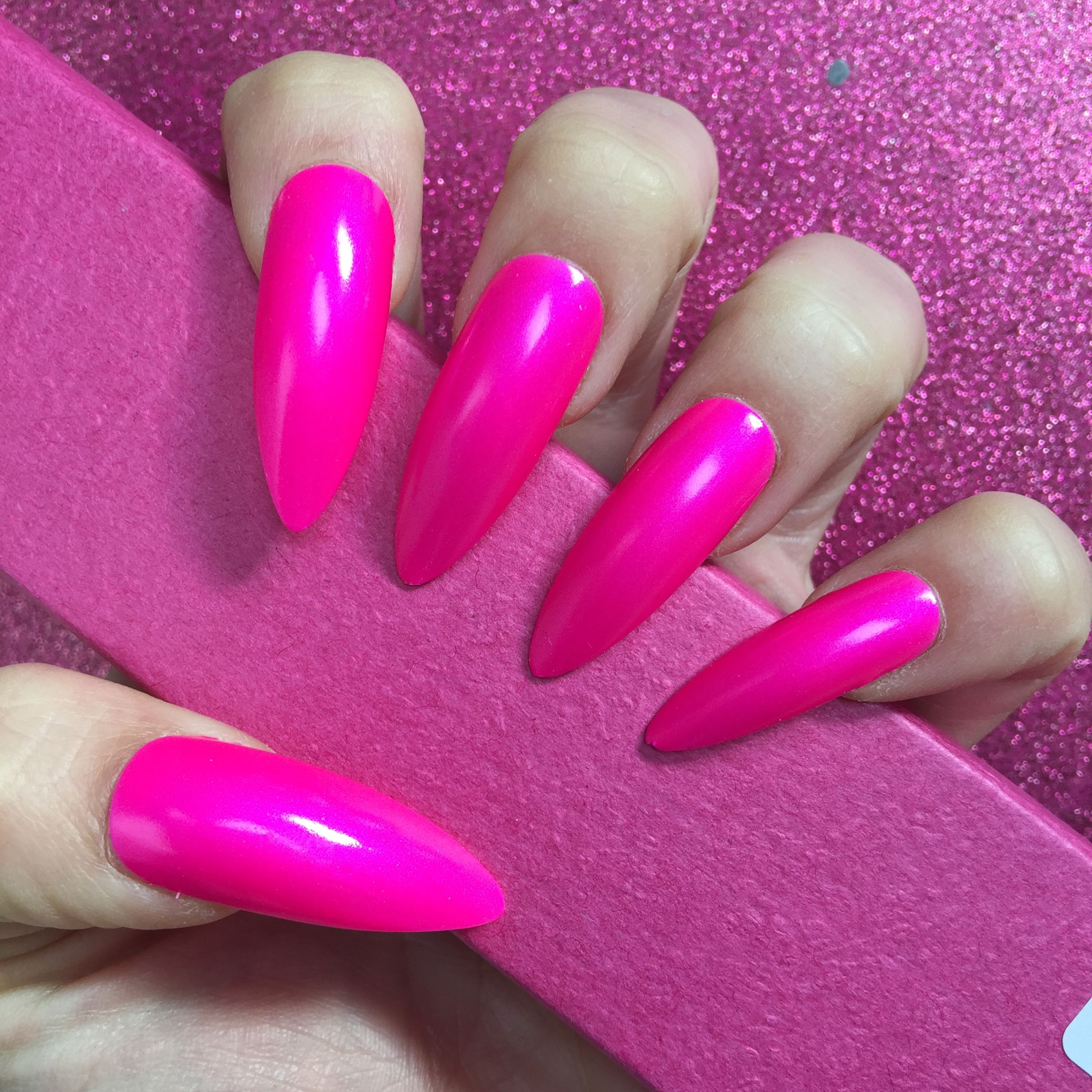 Long Stiletto bright pink press on nails. For sale on the website ...