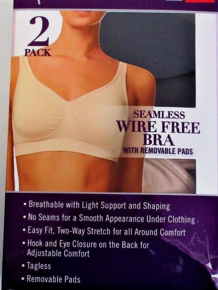 57a9703bcb NEW 2Pack Gloria Vanderbilt Wire Free Bra Seamless Removable Pads  fashion   clothing  shoes