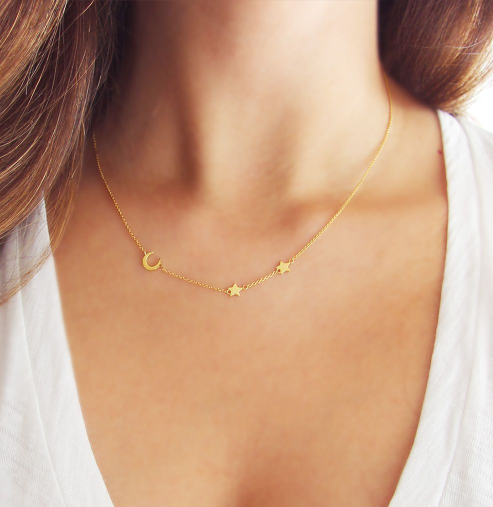 0400688ab35aa Moon and Star Necklace | Delicate Gold Necklace | Crescent Moon ...
