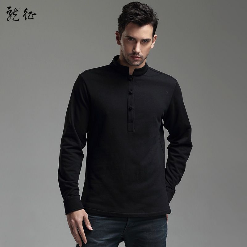 Impressive Frog Button Cotton Pullover - Black - Chinese Shirts ...