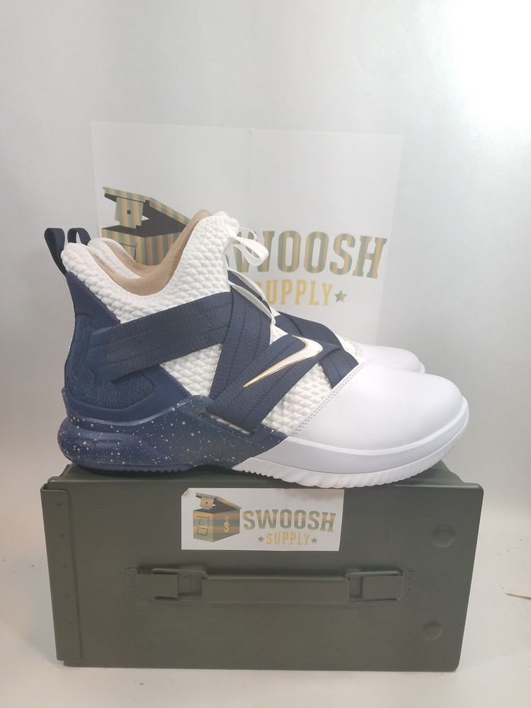 super popular ab7fd 518ee Nike Lebron Soldier XII 12 SFG Mens AO4054-100 White Midnight Navy Size 9.5   Nike  BasketballShoes