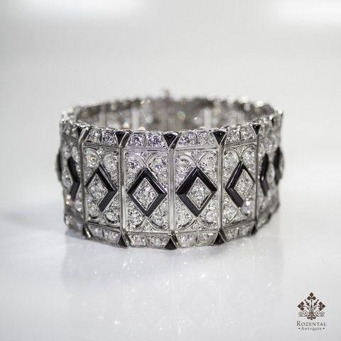 Antique Art Deco Platinum 27ctw. Diamond & Onyx Bracelet  (hva)