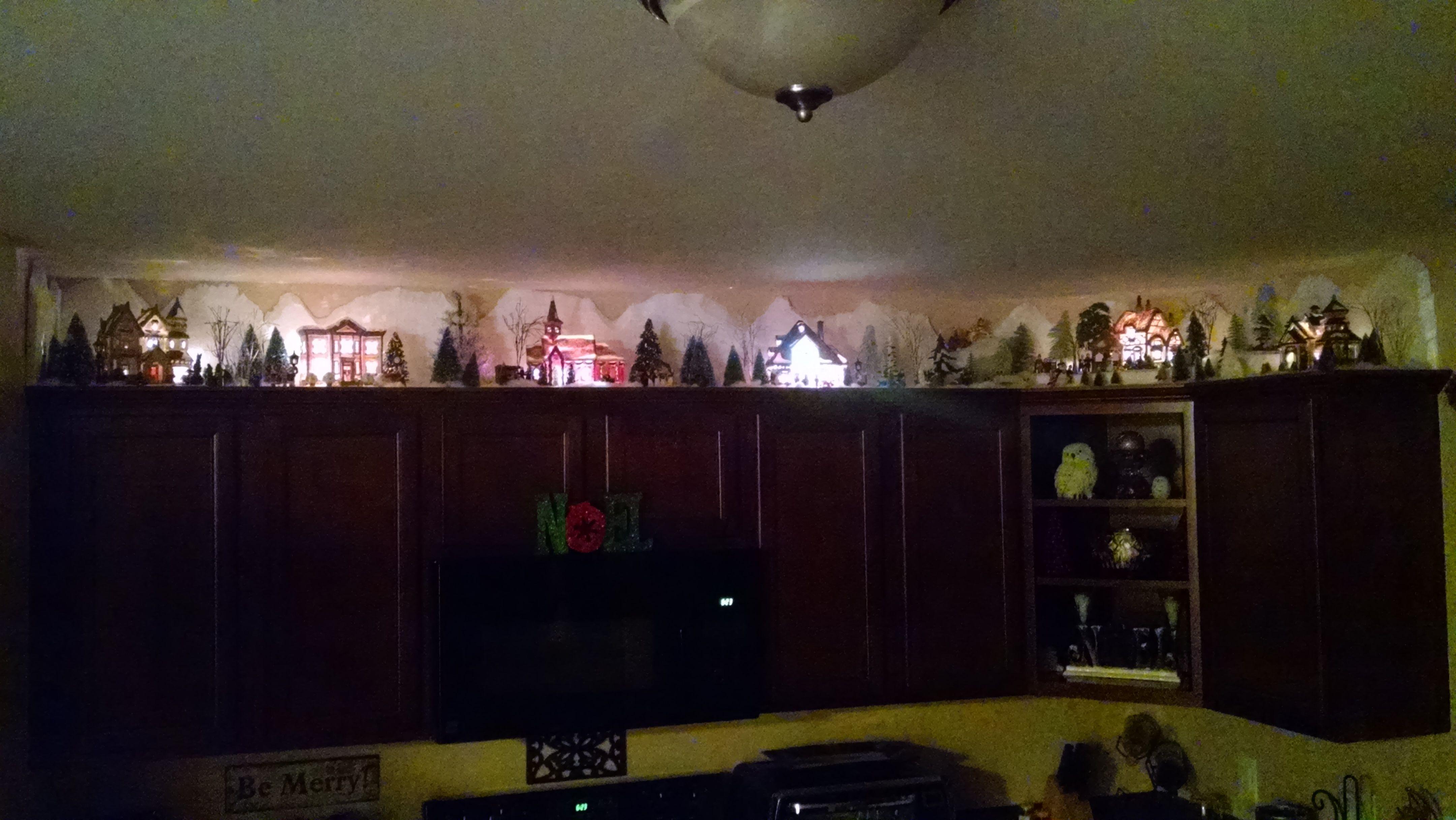 Christmas Village Above Kitchen Cabinets Holiday Diy Projects Christmas Aesthetic Christmas Villages