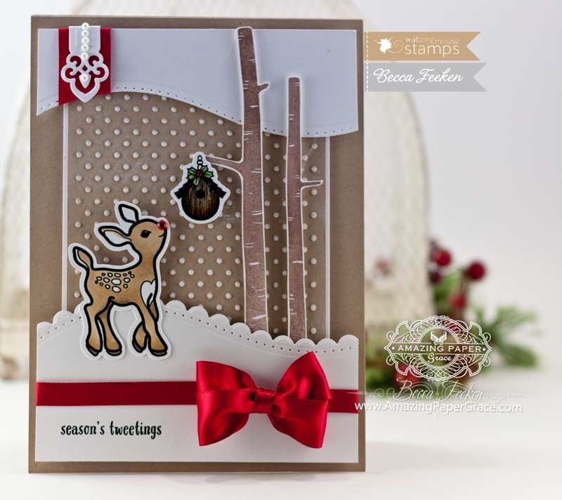 Card Making Ideas Christmas Part - 37: Christmas Card Making Ideas By Becca Feeken Using Waltzingmouse Little  Deers And Spellbinders A2 Curved Borders
