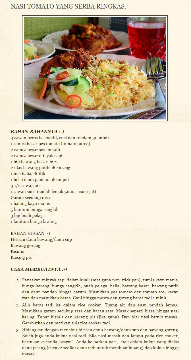 Nasi Tomato Cooking Recipes Food Receipes Savoury Dishes