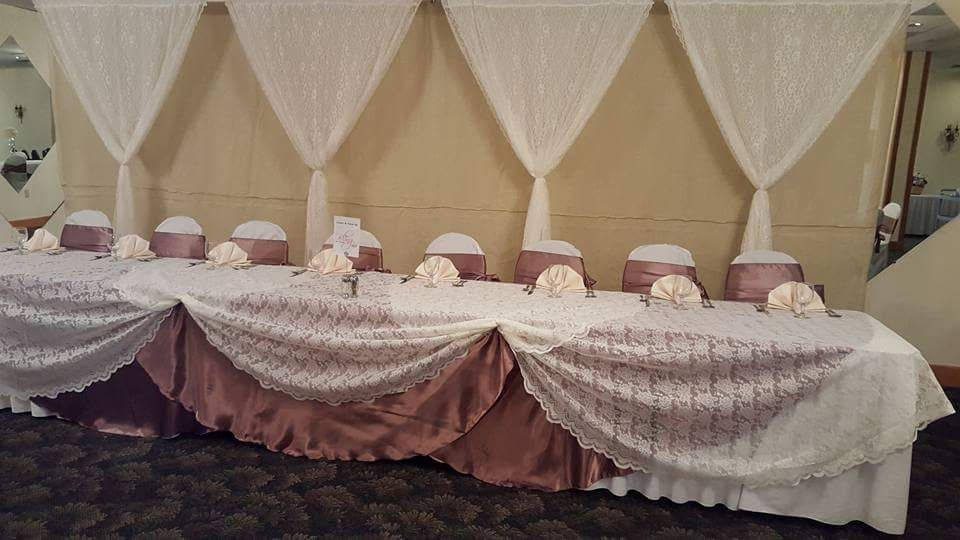 Head table idea but with plum colored underneath.