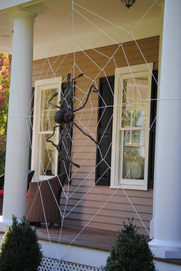 11 Halloween Front Porch Decorating Ideas Halloween porch, Spider - spider web halloween decoration