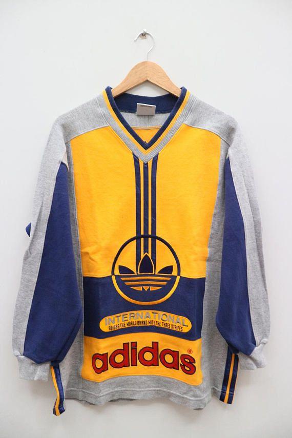 Poesía cilindro Lubricar  Vintage ADIDAS Trefoil Big Logo Adicolor Sportswear Yellow Sweater  Sweatshirt Size S-M   Sportswear fashion, Adidas retro, Everyday outfits
