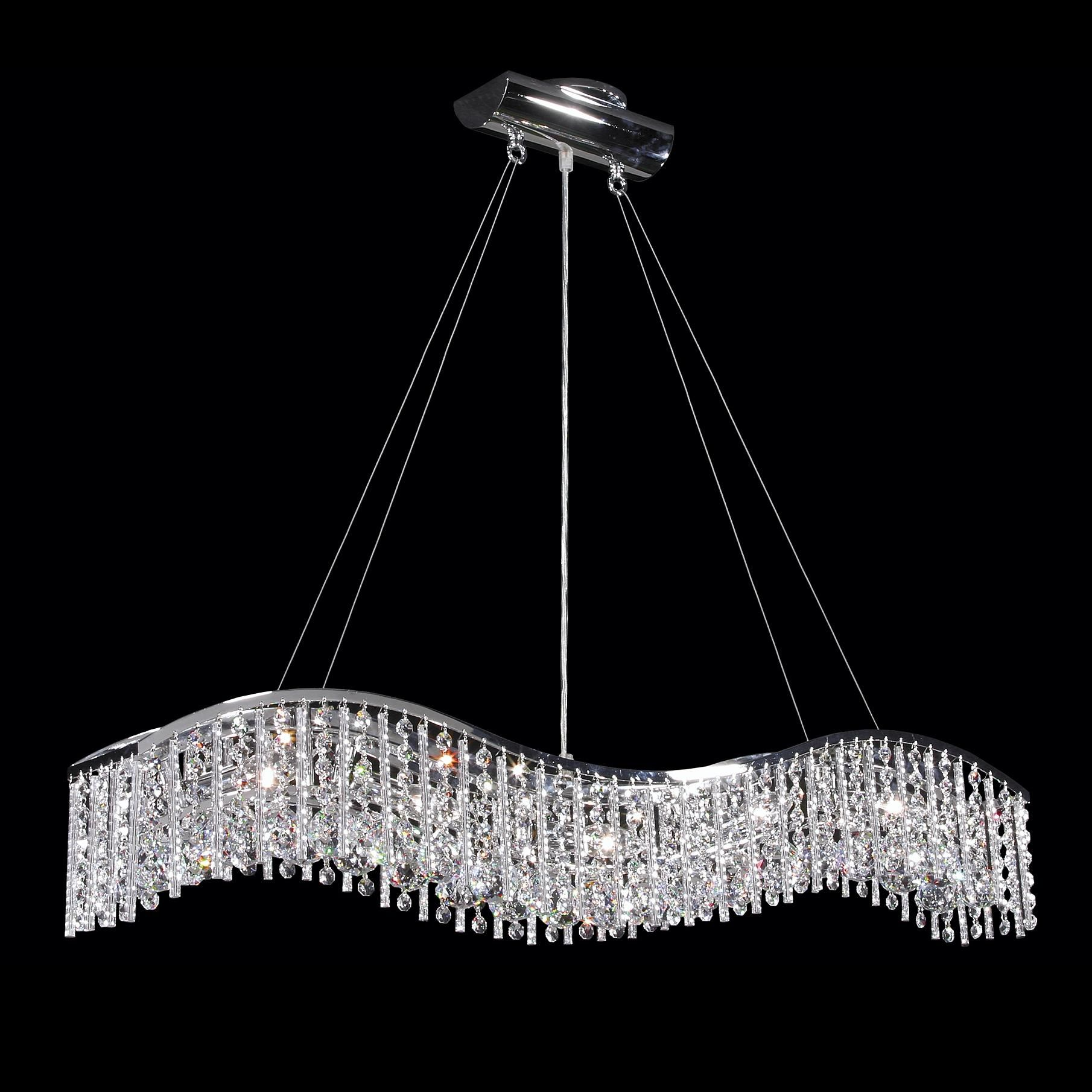 James R Moder 5 Light Crystal Wave Bar With Icicles Style