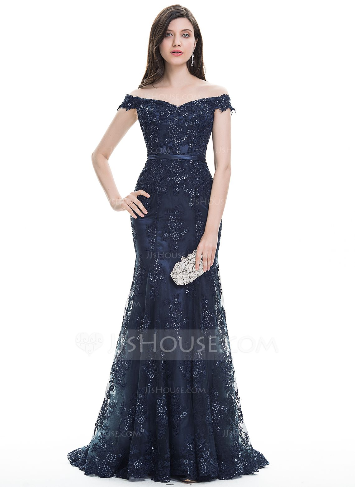 9a6b7d3a662 Trumpet Mermaid Off-the-Shoulder Sweep Train Tulle Lace Evening Dress With  Sequins (017105914) - Evening Dresses - JJsHouse