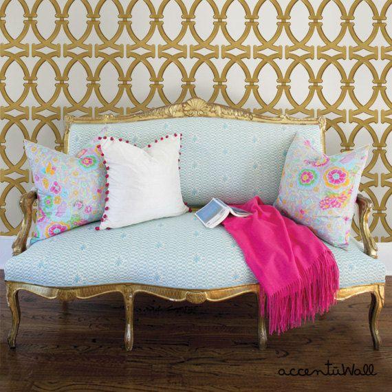 Links Gold Peel & Stick Fabric Wallpaper Repositionable