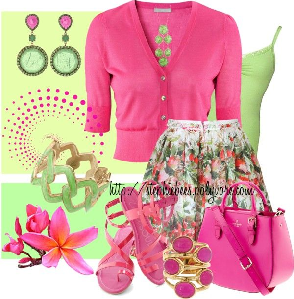 """""""Pink & Green v2"""" by stephiebees on Polyvore"""