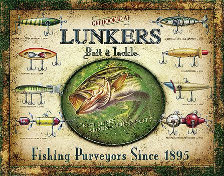 Lunker/'s Lures Bait and Tackle Distressed Retro Vintage Tin Sign