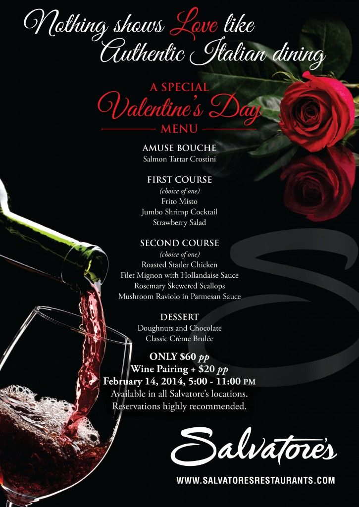 menu - valentine's day salvatore's restaurants | valentine, Ideas