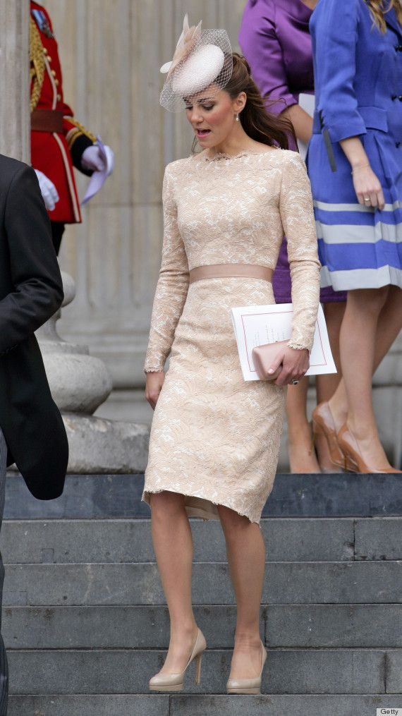 The duchess Kate Middleton stepped out on Wednesday for a party at Buckingham Palace in a Alexander McQueen dress