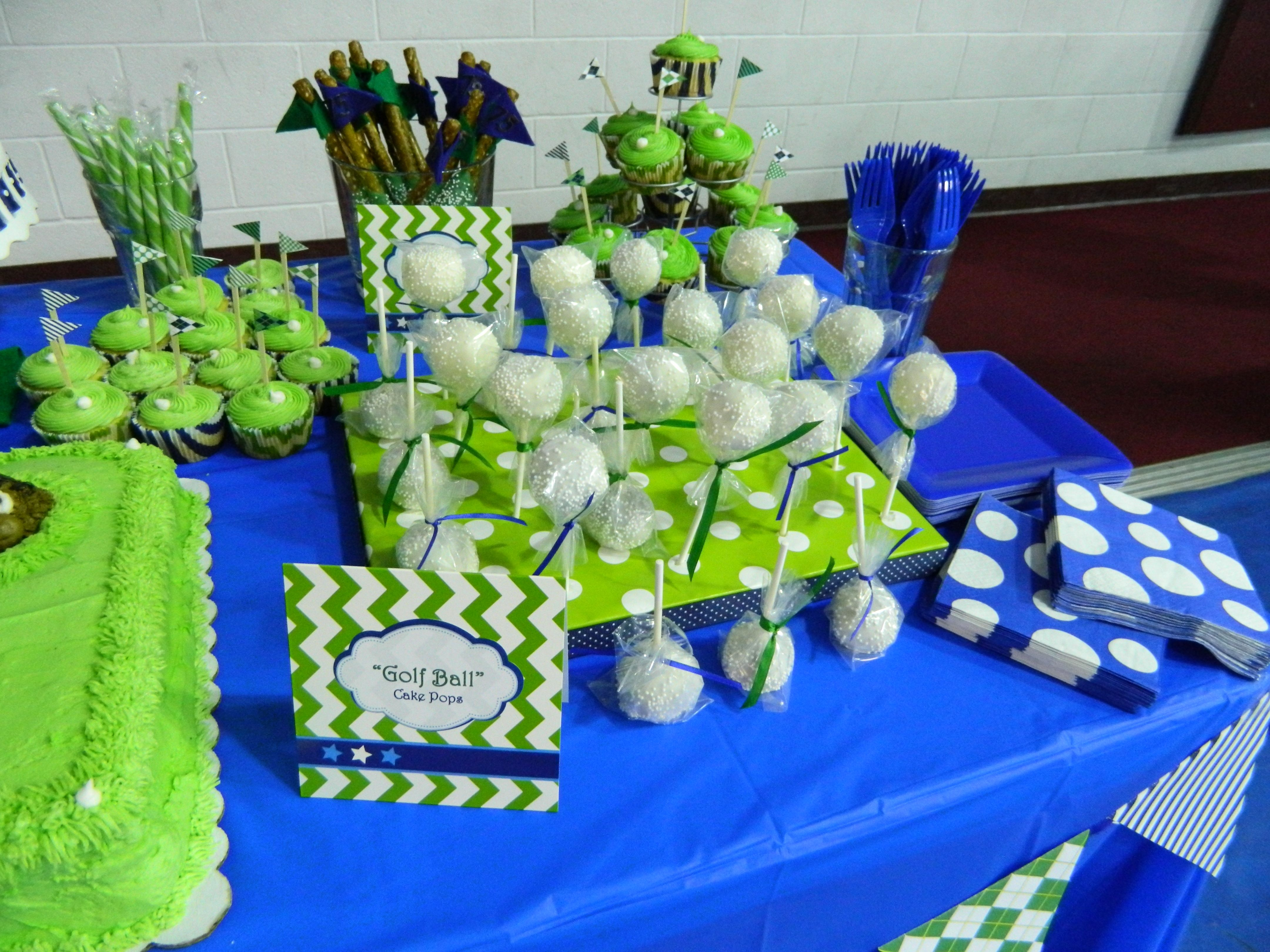 Golf themed 75th birthday party golf ball cake pops cup for 75th birthday decoration