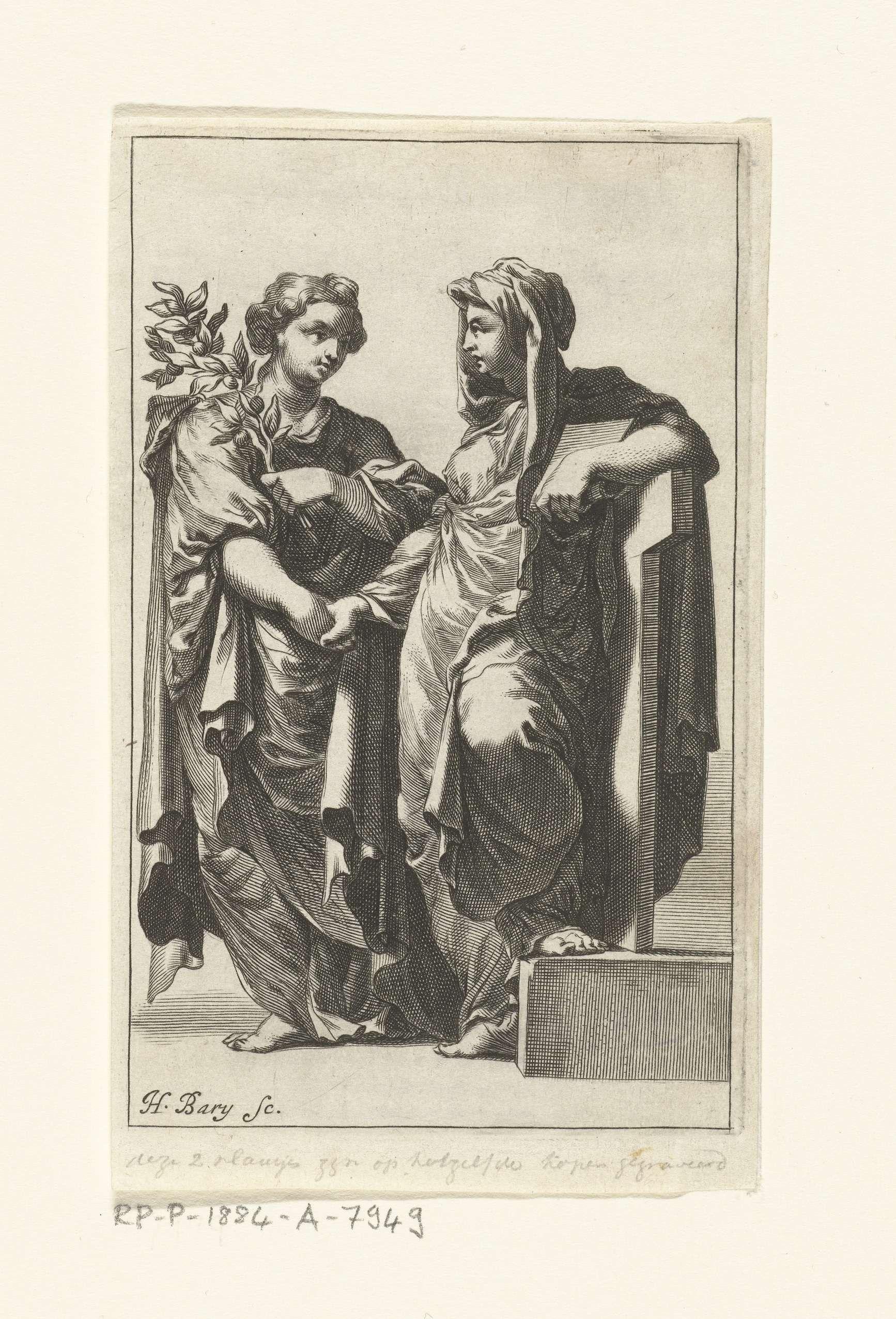 Hendrik Bary | Godsdienst reikt Vrede de hand, Hendrik Bary, 1657 - 1707 | Rechts staat de personificatie van de Godsdienst, met de bijbel in haar hand, rustend op een kruis. Zij reikt de Vrede, te herkennen aan de olijftak, de hand.