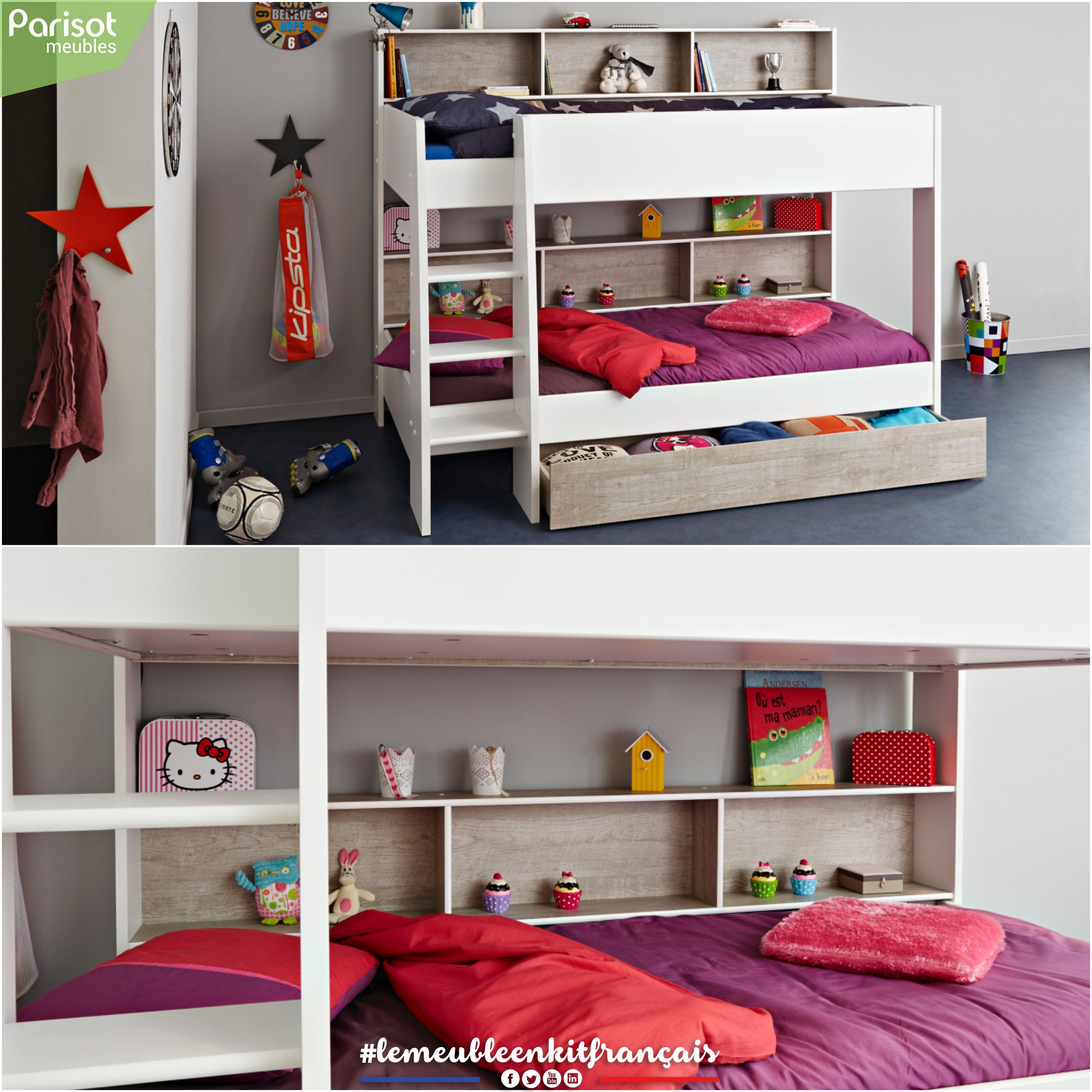 Taylor By Parisot Meubles This Bunk Bed Allows To Save Space With Storage Areas On The Top And Below A Shaped Scale Allows An Easy Mobilier De Salon Interieur