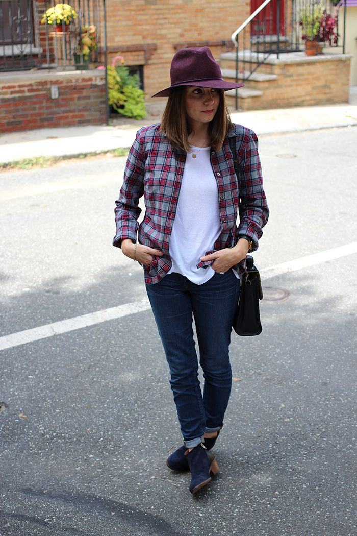 3a2f4c6304 Risa wearing J.Crew flannel shirt + jeans  Zara top  Madewell Charley  booties