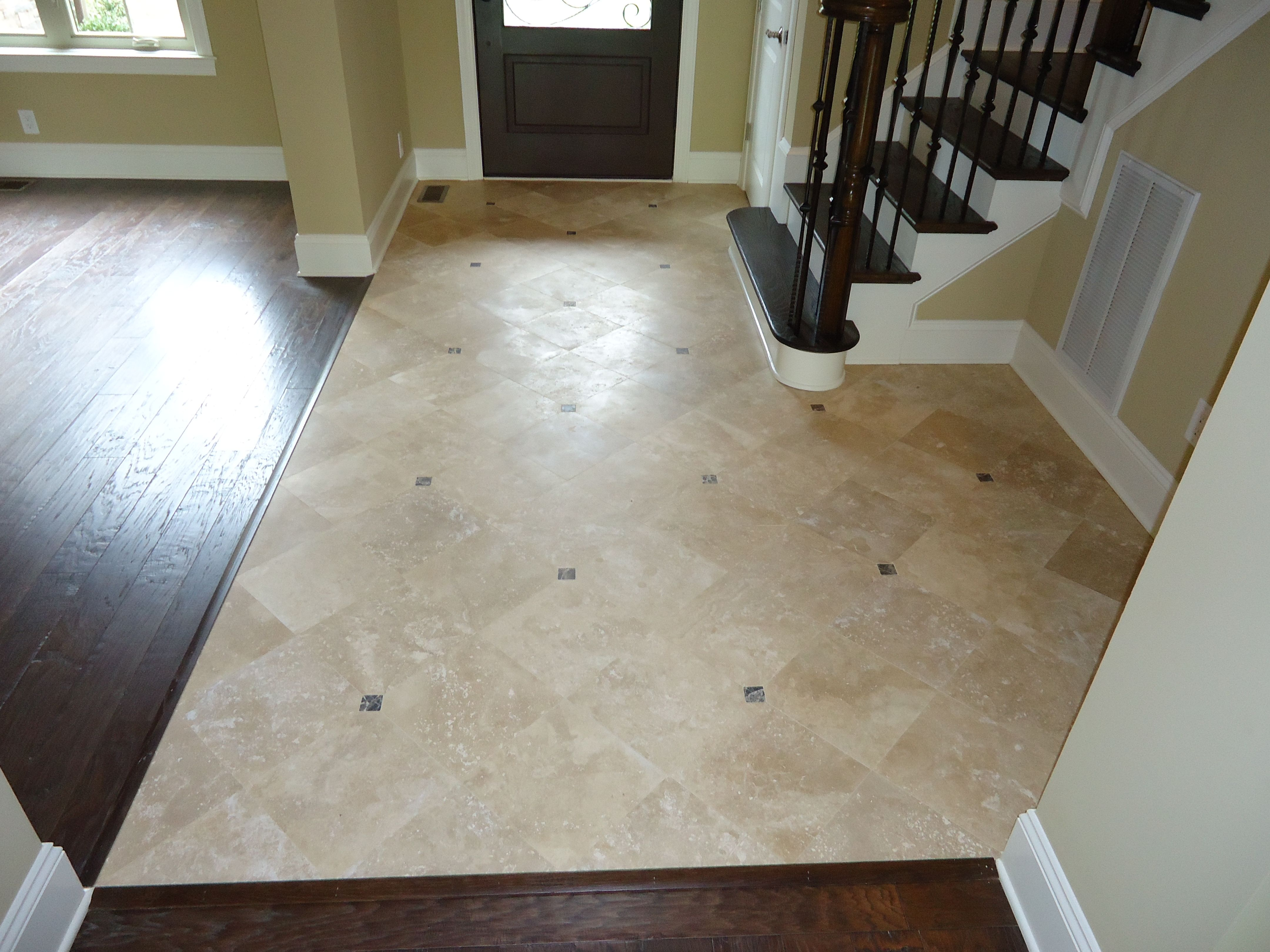 Travertine with marble inset. (Foyer 3) | ARH FOYER/STAIRCASE ...