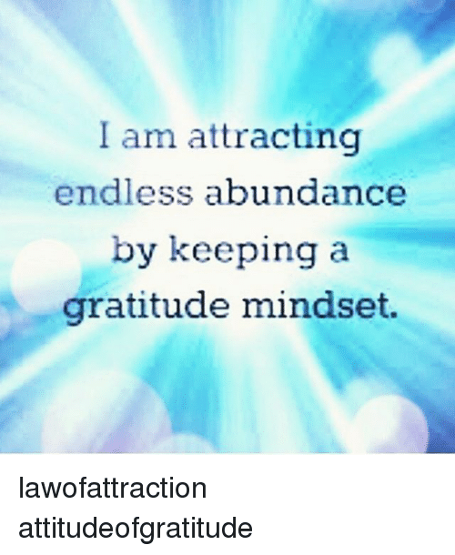 Memes And Gratitude I Am Attracting Endless Abundance By Keeping A Gratitude Mindset Lawofattraction Attitudeofg Lawofattraction Gratitude Attraction