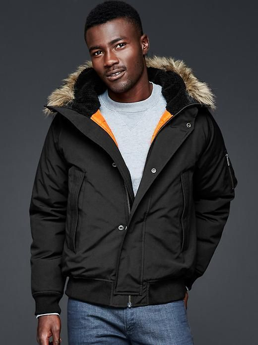 Men GAP PrimaLoft hooded bomber Jacket Black Fur Water resistant ...