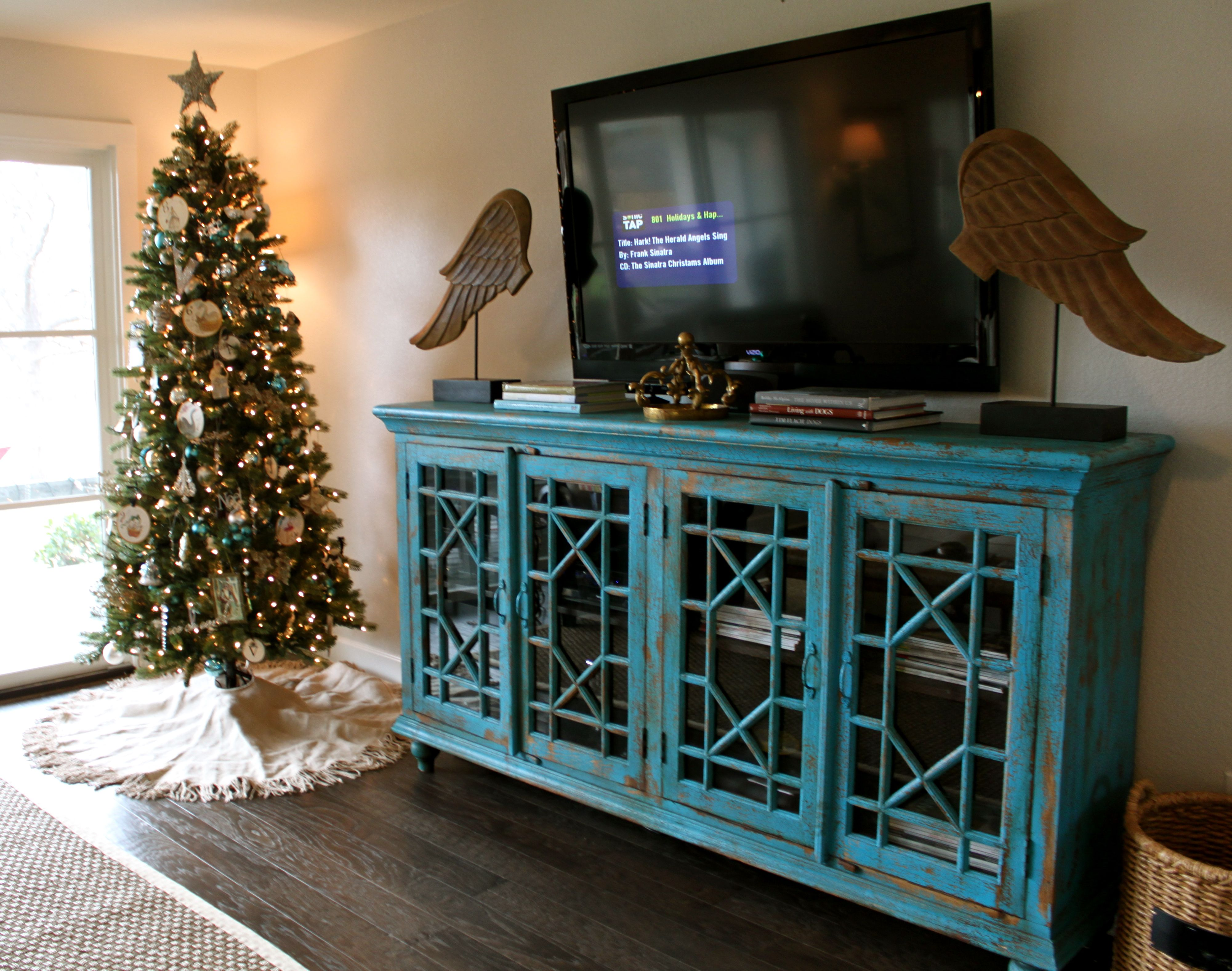 Christmas Distressed Tv Stand Decor Living Room Tv Stand