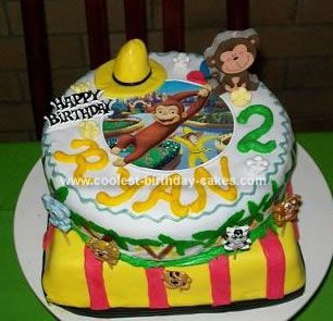 Cute Homemade 2 Tiered Curious George Birthday Cake Curious george
