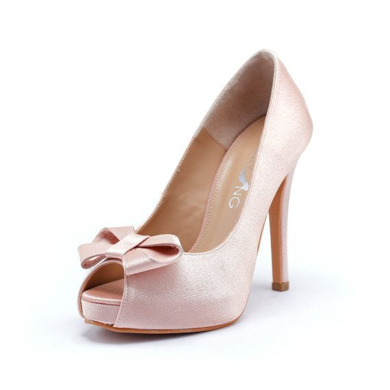 Sweetheart Wedding Shoes In Blush Silk Satin, Valentine Dayu0027s Shoes, Nude Blush  Bridal Shoes