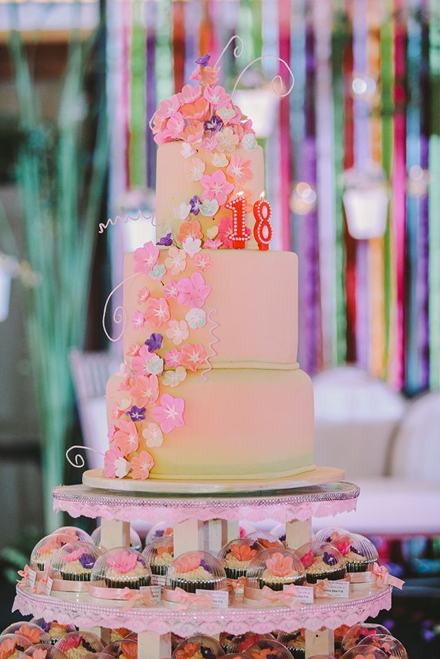Dainty and sweet elements accented this garden-themed debut.