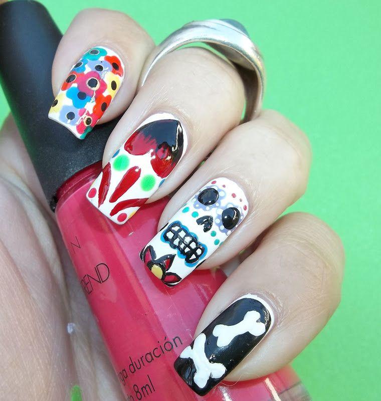 Dia de los muertos nail art 1   hallowen   Pinterest