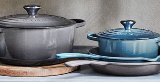 Nye New Le Creuset Colors - Marine Blue & Oyster Gray | Cutlery and TS-97