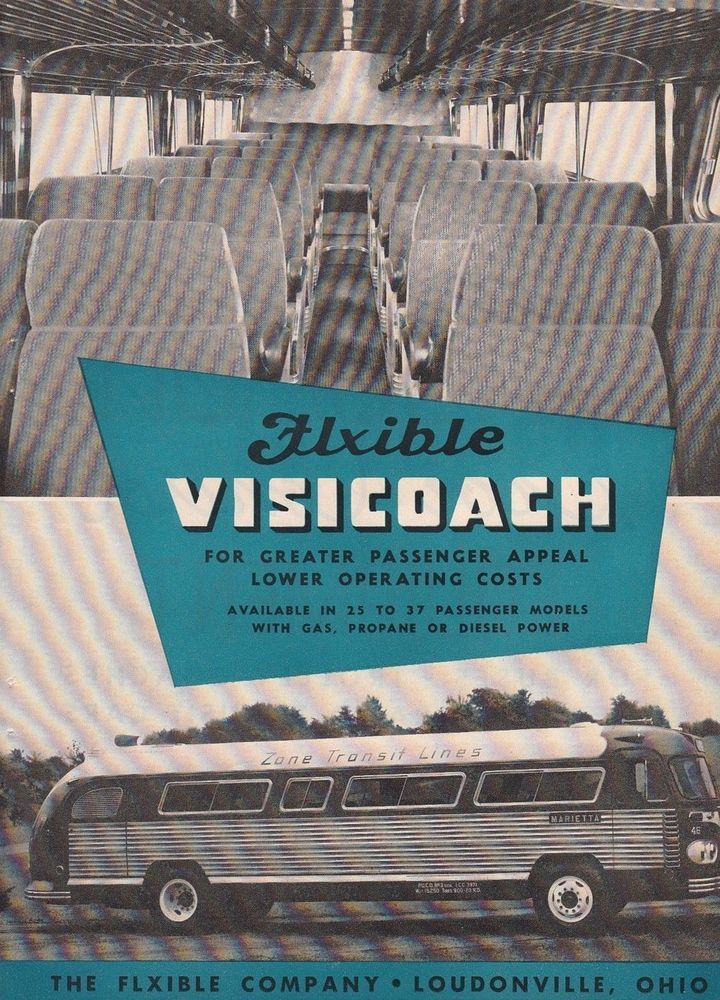 1951 Flxible Co Loundonville OH Ad: Zone Transit Lines Flxible Visicoach Bus